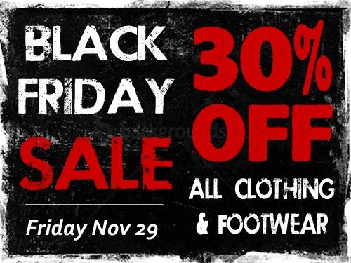 30% OFF clothing and footwear for Black Friday