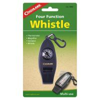 Whistle, thermometer, magnifier and compass all in one