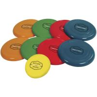 Test your throwing skills with this twist on the classic games of bocce and disk golf with the Freestyle Disk Bocce set.