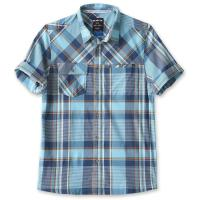 Casual fit, short sleeve button up shirt, stand collar with interior KAVU logo, wicking and UV protection.