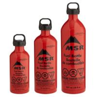 MSR liquid fuel stove fuel bottles with child resistant cap for safety.  11 oz, 20 oz, 30 oz.