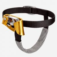A foot-mounted rope clamp/grab that holds the body more upright, thus making the ascent faster and less tiring for the arms. Left or right.